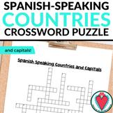 Spanish Speaking Countries & Capitals Worksheet - Spanish Crossword Puzzle
