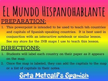 Spanish-Speaking Countries and Capitals - Powerpoint Lesson