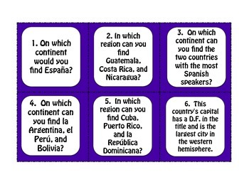 Spanish-Speaking Countries and Capitals Task Cards