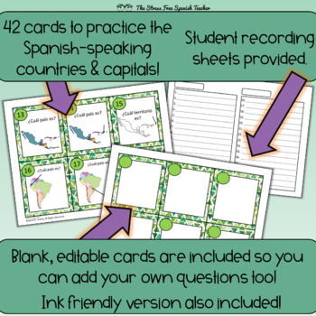Spanish-Speaking Countries and Capitals Task Cards, 42 cards! Spanish