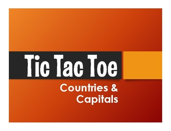 Spanish-Speaking Countries and Capitals Tic Tac Toe