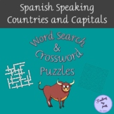 Spanish Speaking Countries and Capitals Word Search and Crossword Puzzle Packet