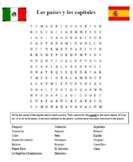 Spanish-Speaking Countries and Capitals Wordsearch Letter Jumble Puzzles