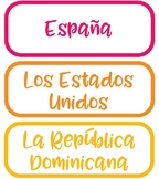 Spanish Speaking Country Colorful Labels