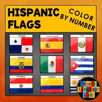 Spanish Speaking Color by Number Country Flags by World Language Cafe
