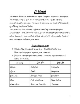 Spanish-Speaking Country Menu Project