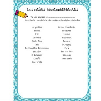 Spanish Speaking Country Research Project