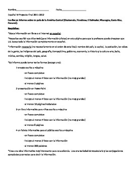 Spanish Speaking Country Research Project & Rubric