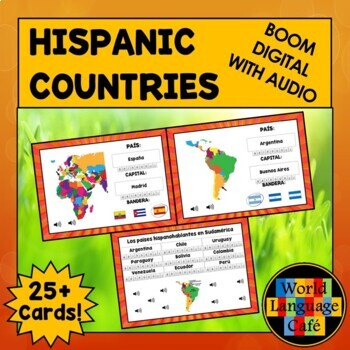 Spanish Speaking Countries Flashcards, Hispanic Countries Digital Flashcards