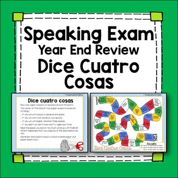 Spanish Speaking Game Final Review Dice 4 Cosas