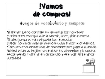 Spanish  Game/Food game.. Vamos de compras al Supermercado!-Comida juego