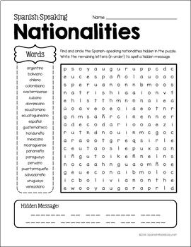 Spanish Nationalities Vocabulary and Grammar Unit by ...