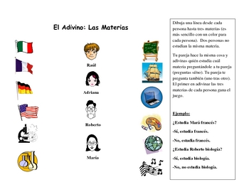 Spanish Speaking Partner Activity with School Subjects