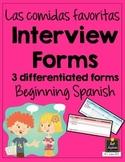 Spanish Interview Forms - Las Comidas Favoritas - Differentiated