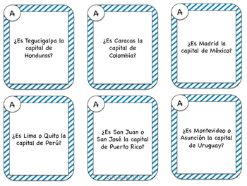 Spanish Speaking Prompts - Countries & Capitals