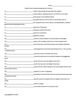 Spanish-Speaking South America Quiz or Worksheet for Middle School Geography