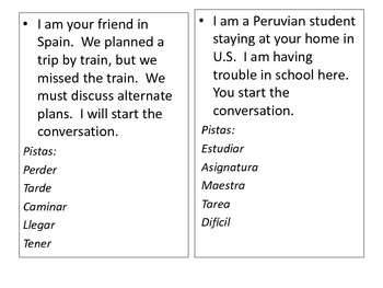 Spanish Speaking Tasks (20 conversation task cards)