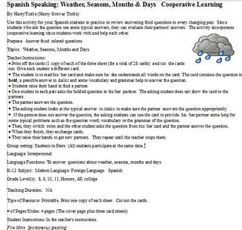 Spanish Speaking: Weather, Seasons, Months & Days   Cooperative Learning