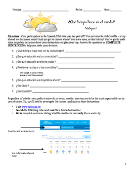 Spanish Speaking Weather Web Quest