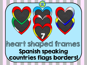 Spanish Speaking countries heart frames