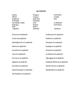 Spanish Speaking country and capital quiz