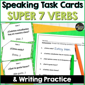 Spanish Speaking task cards for Super 7 verbs