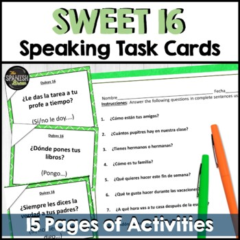 Spanish Speaking task cards for sweet 16 verbs