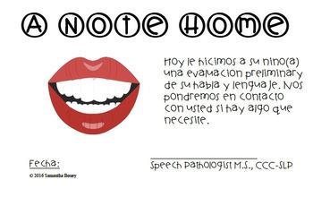 Spanish Speech and Language Screener Note Home