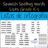 Spanish Spelling Words Lists Grade K-1 (Year Round)