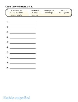 Spanish Spelling Worksheet Insectos Insects Crossword Puzzle Noodle