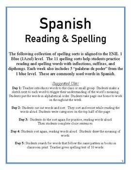 Spanish Spelling and Reading- aligned to ENIL 1 Azul