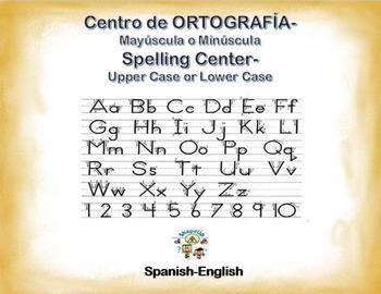 Spanish Spelling / Ortografia Upper & Lower Case in a Station / Center Activity