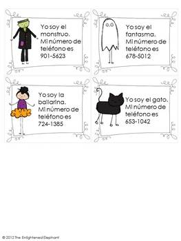 Spanish Spooky Speaking Activity Telephone Numbers 0-9