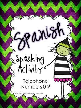 Spanish Spooky Speaking Activity Telephone Numbers 0-9