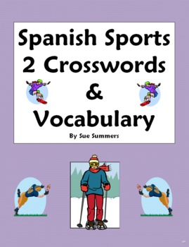 Spanish Sports 2 Crosswords, Images, and Word List - Substitute Lesson