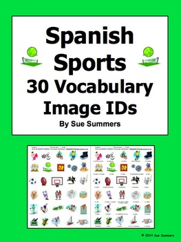 Spanish Sports 30 Vocabulary Image IDs Worksheet