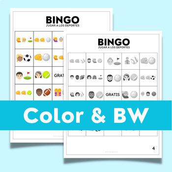 Spanish Sports Bingo (Jugar a los deportes) with Emoji Puzzles