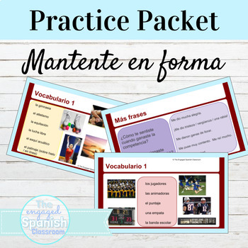 Spanish Mantente en Forma Vocabulary Presentation