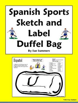 Spanish Sports Duffel Bag Sketch and Label - Los Deportes