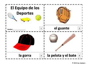 Spanish Sports Equipment 2 Booklets - Los Deportes
