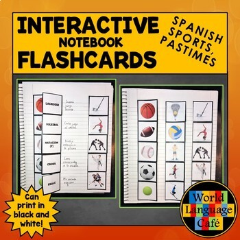 Spanish Sports, Hobbies, Pastimes Interactive Notebook Flashcards, Deportes