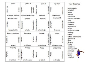 Spanish Sports Matching Squares Puzzle - 25 Different Sports
