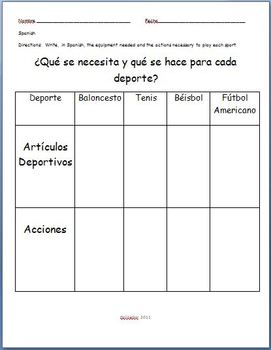 Spanish - Sports Practice Worksheet
