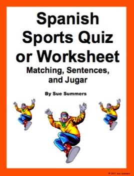 Spanish Sports Quiz or Worksheet - Matching, Sentences & Jugar