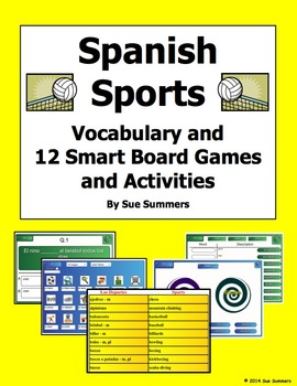 Spanish Sports SmartBoard 12 Games and Activities, and Vocabulary