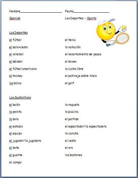 Spanish - Sports Vocabulary