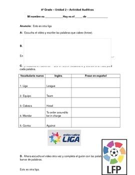 Spanish Sports Vocabulary- Listening Activity