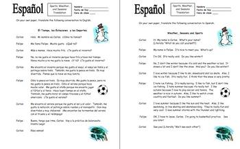 Spanish Sports, Weather & Seasons With Likes & Dislikes Translations