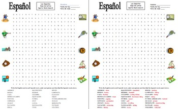 Spanish Sports Word Search Puzzle Worksheet - Los Deportes