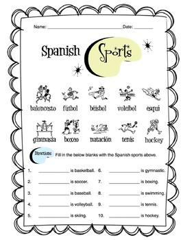Spanish Sports Worksheet Packet